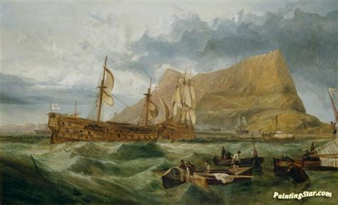 Hms Victory Towed Into Gibraltar Artwork By George