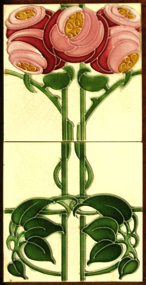 Art Nouveau Roses - T & R Boote   The Decorated Tile Wiki