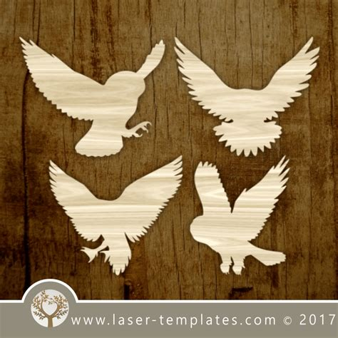 Bird silhouette template for laser cutting