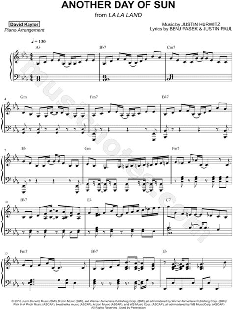 """David Kaylor """"Another Day of Sun"""" Sheet Music (Piano Solo"""