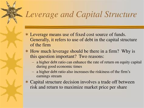 PPT - Capital Structure Decisions Chapter 15 and 16